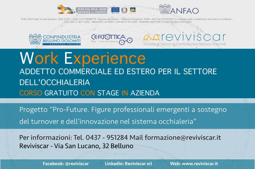 """Work Experience – Corso gratuito in """"Addetto commerciale ed estero per il settore dell'occhialeria"""""""
