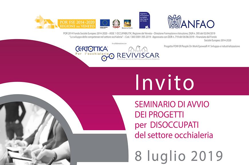 Presentazione dei percorsi formativi per INOCCUPATI/DISOCCUPATI nel settore occhialeria – 8 Luglio 2019